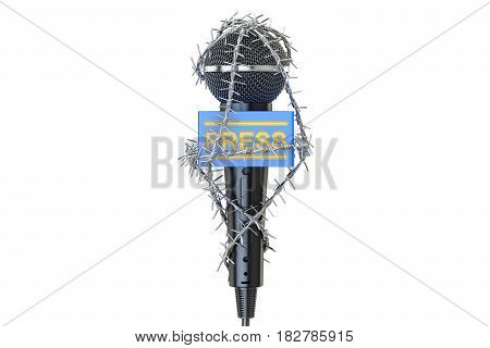 Freedom of the press prohibition concept. Microphone with barbed wire 3D rendering