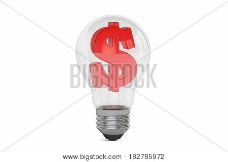 Lightbulb with dollar symbol inside 3D rendering isolated on white background