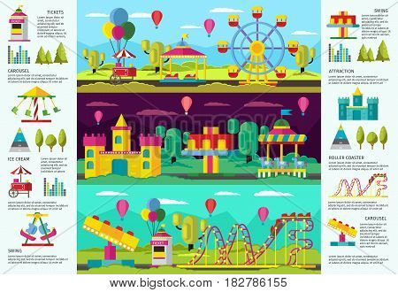 Colorful amusement park infographic banners with recreational swing carousels attractions and elements vector illustration