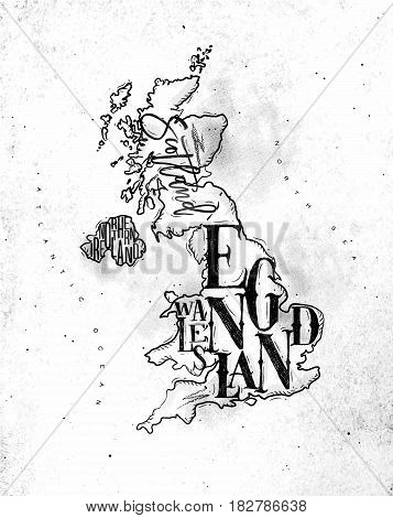 Vintage united kingdom map with regions inscription scotland northern ireland england wales drawing on dirty paper background
