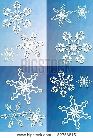 Quartered winter background with snowflakes on triangle patterned area