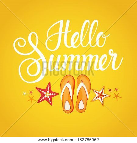Hello Summer Season Text Banner Abstract Yellow Background Flat Vector Illustration