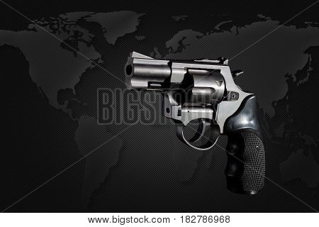 Gun gun on black background world map