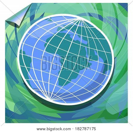 Modern grunge background with globe in green and blue watercolor design on the paper with twisted corner