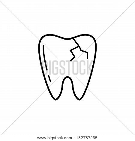 Cracked tooth line icon, Dental and medicine, vector graphics, a linear pattern on a white background, eps 10.