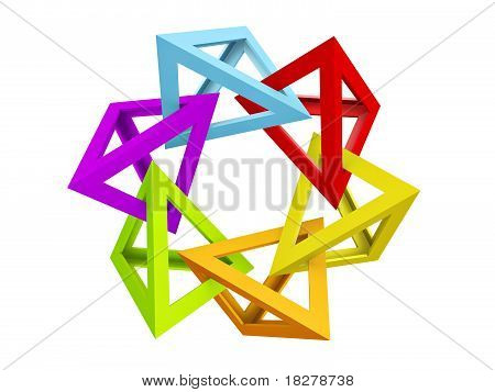 colorful triangle hollow pyramid links isolated on white background poster