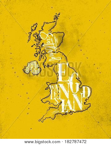 Vintage united kingdom map with regions inscription scotland northern ireland england wales drawing on yellow background