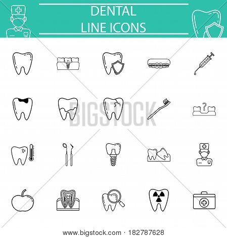 Dental line pictograms package, stomatology symbols collection, vector sketches, logo illustrations, medicine linear icon set isolated on white background, eps 10