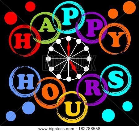 Happy hours billboard in rainbow colors with clock face and letters in circle