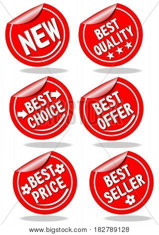 Set of red shopping advertising labels quality offer choice price seller new