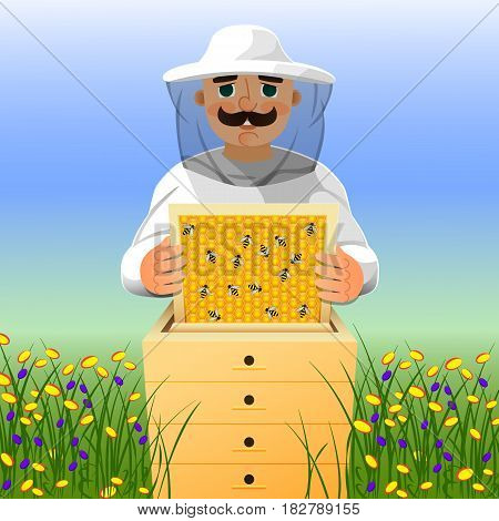 Beekeeper on apiary. A man in a white beekeeper suit works near a beehive. Sunny summer day on a flowering meadow. Vector illustration.