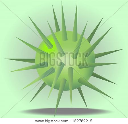 3d green ball with prickles on light green background