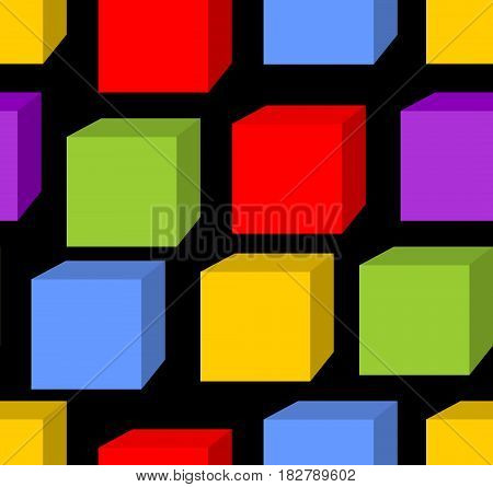 Seamless background with rainbow cube patterns on the black area