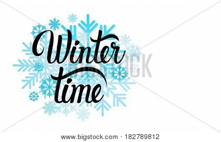 Hello Winter Season Text Banner Abstract White Background Background Flat Vector Illustration