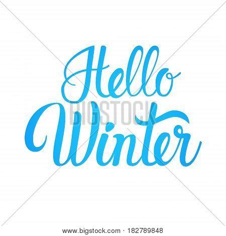 Hello Winter Season Text Banner White Background Background Flat Vector Illustration