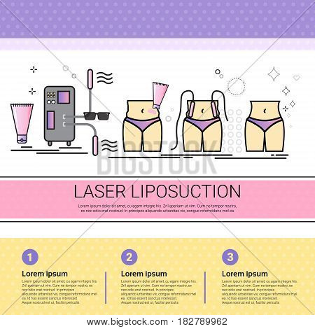 Laser Liposuction Cosmetology Infographics Salon Medical Cosmetics Procedures Set Banner With Copy Space Flat Vector Illustration