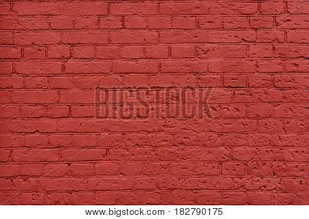 Red brown painted brick wall. Vintage background