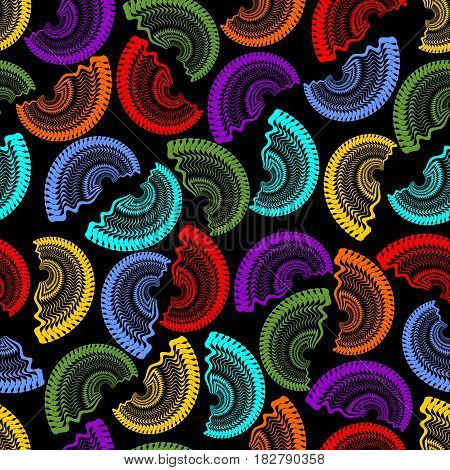 Seamless dark background with rainbow semicircle fine patterns on black area