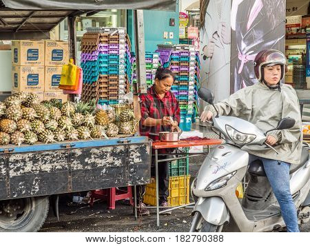 Yilan Taiwan - October 18 2016: A stand with fresh pineapples on a lorry