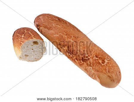Isolated fresh bread baguette on a white background