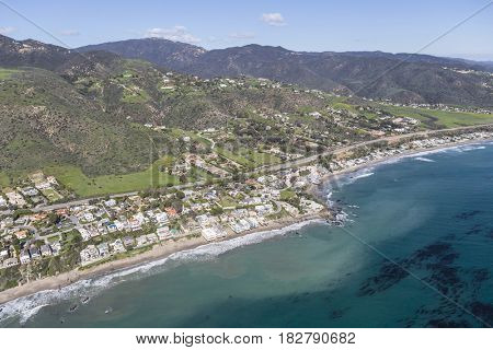 Aerial view of beach neighborhood in Malibu, California.