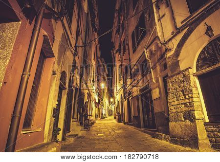 Streets of Portovenere in Italian Riviera. Medieval Narrow Street of Porto Venere at Night.