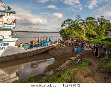 Passenger Ferry At The Port On The Amazon River