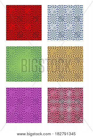 Set of six tiles with wavy patterns in different color design