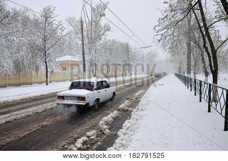 Unexpected Rapid Fallout Of Snow In April On The Kharkov Streets