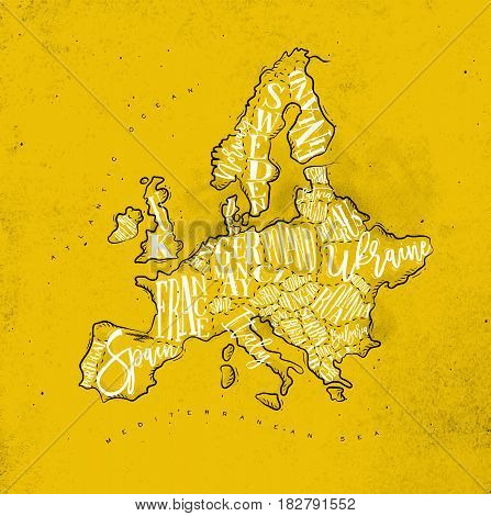 Vintage europe map with countries inscription uk ireland norway sweden finland germany france spain italy poland czech austria switzerland netherlands belgium drawing on yellow paper
