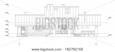 Vector isolated.Fragment of a facade of the wooden building. The architectural drawing of a facade on a white background.