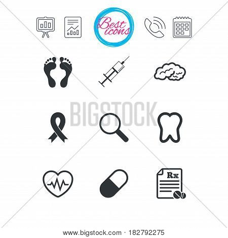 Presentation, report and calendar signs. Medicine, medical health and diagnosis icons. Syringe injection, heartbeat and pills signs. Tooth, neurology symbols. Classic simple flat web icons. Vector