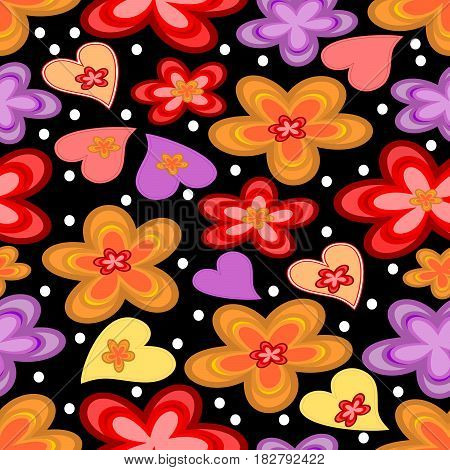 Seamless contrasting background with vivid flowers and hearts on black area