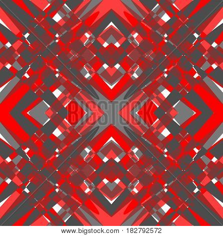 Futuristic grunge tile with rhomboid patterns in red and gray design