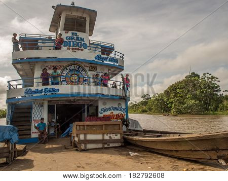 Amazon River Peru - May 12 2016: A passenger ferry and cargo on the Amazon river