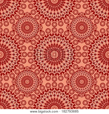 Vintage fine patterns in old folklore style in red and orange design