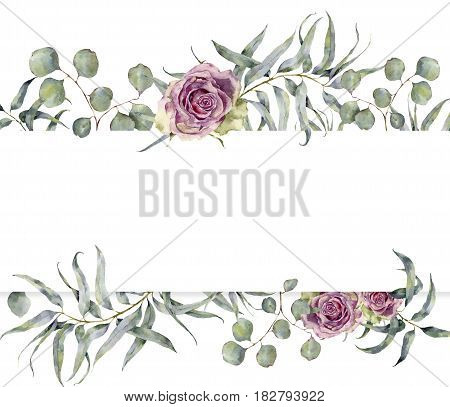 Watercolor card with eucalyptus branch and roses. Hand painted floral frame with round leaves of silver dollar eucalyptus and flowers isolated on white background. For design or print.