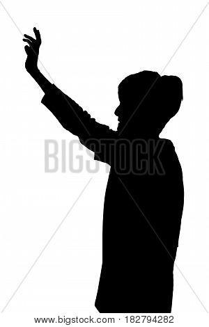 Elderly Lady Silhouette Extending Arm Waving