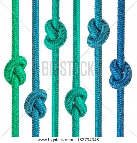 colored knotted ropes isolated on white background