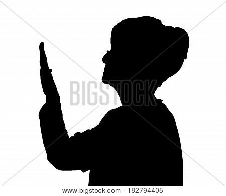 Side Profile Portrait Silhouette Of Elderly Lady Checking Condition Of Nails