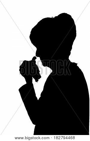 Profile Portrait Silhouette Of Sad Elderly Lady Crying Or Sick