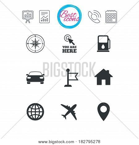 Presentation, report and calendar signs. Navigation, gps icons. Windrose, compass and map pointer signs. Car, airplane and flag symbols. Classic simple flat web icons. Vector