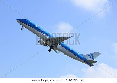 Amsterdam the Netherlands - April 2nd 2017: PH-EZC KLM Cityhopper Embraer ERJ-190STD takeoff from Polderbaan runway Amsterdam Airport Schiphol