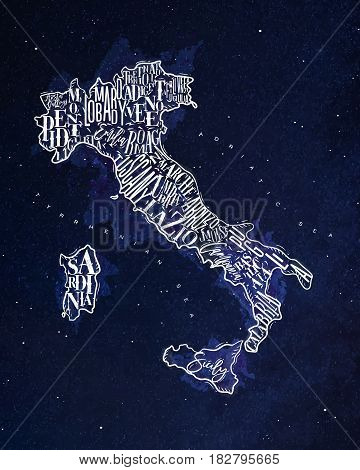 Vintage italy map with regions inscription sardinia sicily lazio tuscany liguria marche abruzzo calabria puglia veneto trentino lombardy marche drawing with chalk on blue background
