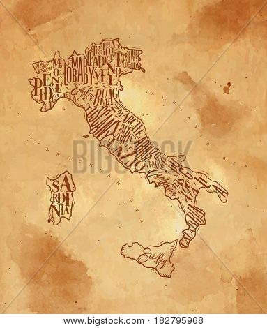 Vintage italy map with regions inscription sardinia sicily lazio tuscany liguria marche abruzzo calabria puglia veneto trentino lombardy marche drawing on craft background
