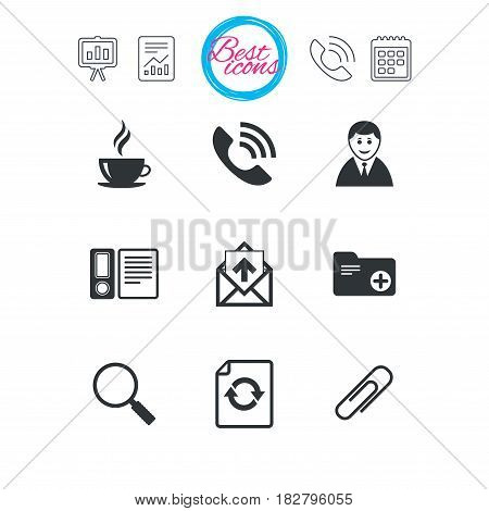 Presentation, report and calendar signs. Office, documents and business icons. Coffee, phone call and businessman signs. Safety pin, magnifier and mail symbols. Classic simple flat web icons. Vector