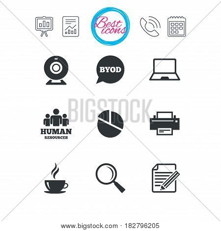 Presentation, report and calendar signs. Office, documents and business icons. Pie chart, byod and printer signs. Report, magnifier and web camera symbols. Classic simple flat web icons. Vector
