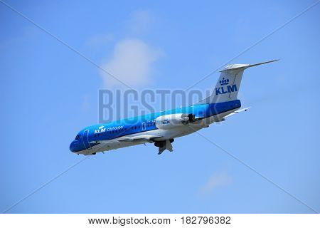 Amsterdam the Netherlands - April 2nd 2017: PH-KZL KLM Cityhopper Fokker F70 takeoff from Polderbaan runway Amsterdam Airport Schiphol