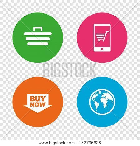 Online shopping icons. Smartphone, shopping cart, buy now arrow and internet signs. WWW globe symbol. Round buttons on transparent background. Vector