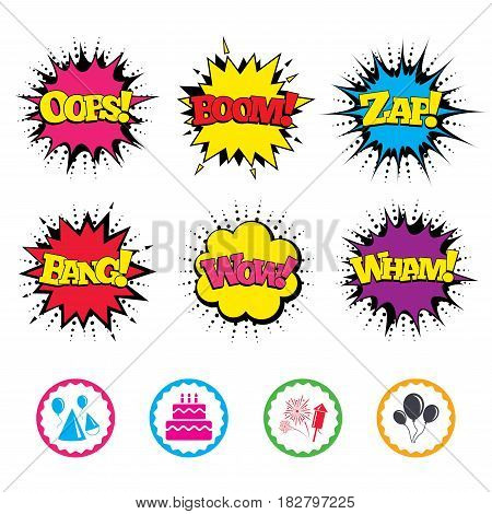 Comic Wow, Oops, Boom and Wham sound effects. Birthday party icons. Cake, balloon, hat and muffin signs. Fireworks with rocket symbol. Double decker with candle. Zap speech bubbles in pop art. Vector